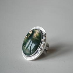duży pierścień,agat mszysty,zielony,nitza - Pierścionki - Biżuteria