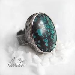srebrny pierścionek z turkusem,oksydowany,duży - Pierścionki - Biżuteria