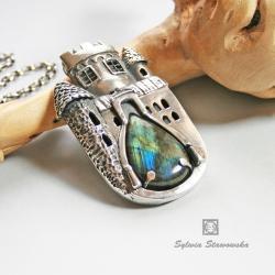 srebro,handmade,labradoryt,zamek - Wisiory - Biżuteria