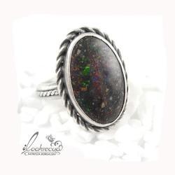 pierścionek z opalem,srebrny pierścionek - Pierścionki - Biżuteria