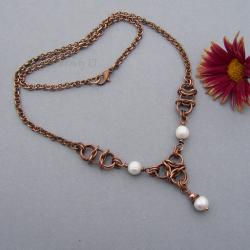 elegancki,miedź,chainmaille,perły,kobiecy - Naszyjniki - Biżuteria