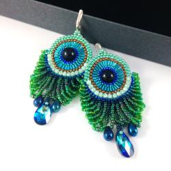 pawie pióra,długie kolczyki,ooak,unikatowe - Kolczyki - Biżuteria
