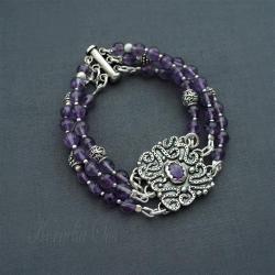 bransoletka,srebrna,z ametystami,romantyczna - Bransoletki - Biżuteria