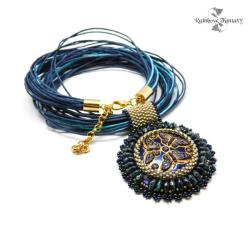 elegancki,niecodzienny,okrągły,granatowy,złoty - Naszyjniki - Biżuteria