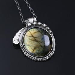 wisior srebrny,labradoryt,wire-wrapping - Wisiory - Biżuteria