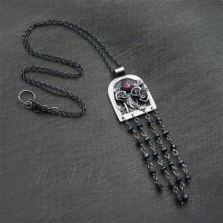 wisior,srebrny,długi,z rubinem,kwiaty - Wisiory - Biżuteria