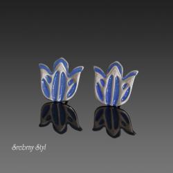 srebro,kwiaty,kielichy,patynowane,sztyfty - Kolczyki - Biżuteria