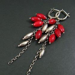 koralowe,długie - Kolczyki - Biżuteria