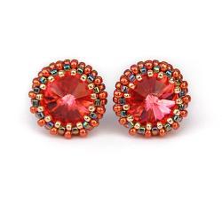 sztyfty,skrzące,eleganckie,Padparadascha - Kolczyki - Biżuteria