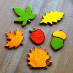 jesienne,jeż,jabłko,żołądź,liście,liść - Ceramika i szkło - Wyposażenie wnętrz
