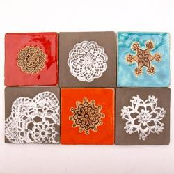 kafleki z gliny,kafle robione ręcznie - Ceramika i szkło - Wyposażenie wnętrz