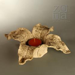 lampion,świecznik,ceramiczny,jesienny,liść - Ceramika i szkło - Wyposażenie wnętrz