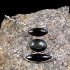 Naszyjniki srebrny naszyjnik z obsydianami