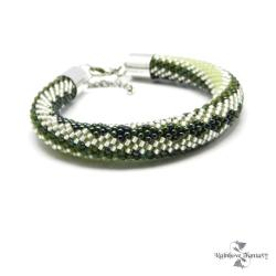 metaliczna,błyszcząca,zielenie,srebrny,wzorzysta - Bransoletki - Biżuteria