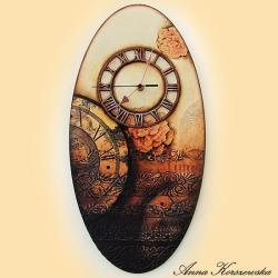 zegar,postarzany,kwiaty,brąz,owal,tarcza - Inne - Wyposażenie wnętrz