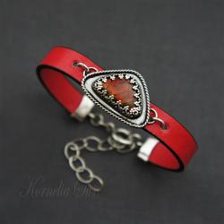 bransoletka,czerwona,z ammolitem,rzemień - Bransoletki - Biżuteria