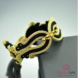 bransoletka sutasz,złota,czarna,elegancka - Bransoletki - Biżuteria