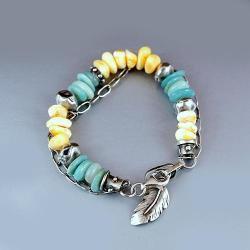 bransoleta z bursztynem i amazonitem - Bransoletki - Biżuteria