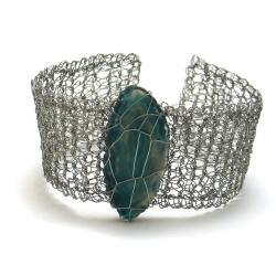 bransoletka,pleciona,agat,elegancka,szydełko, - Bransoletki - Biżuteria