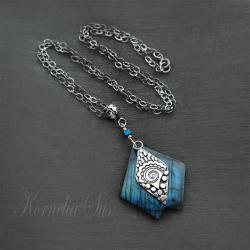 wisior,srebrny,długi,z labradorytem,mozaika - Wisiory - Biżuteria