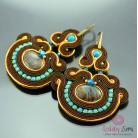 Kolczyki orientalne,brązowe,sutaszowe,złote