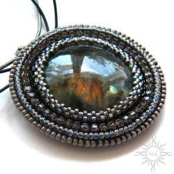 opalizujący,błyszczący,labradoryt,srebrny - Wisiory - Biżuteria