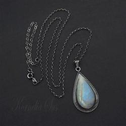 wisior,srebrny,długi,z kamieniem księżycowym - Wisiory - Biżuteria