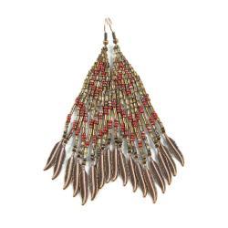 kolczyki koralikowe,etniczne,indiańskie,długie - Kolczyki - Biżuteria