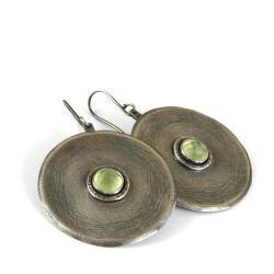 srebrne kolczyki z prehnitem - Kolczyki - Biżuteria