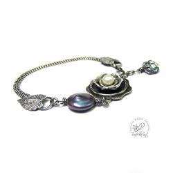 srebrna,oksydowana,perłowa,srebrny liść - Bransoletki - Biżuteria
