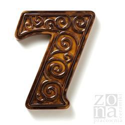 cyfra,numer na dom,ceramika,brązowa - Ceramika i szkło - Wyposażenie wnętrz