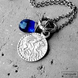 nowoczesny,młodziezowy,srebrny,habrowy,z monetą - Naszyjniki - Biżuteria