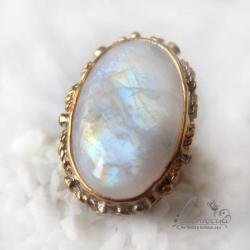 pierścień z kamieniem księżycowym,ozdobny - Pierścionki - Biżuteria