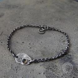 srebro,oksydowane,surowa,minimalizm,labradoryt - Bransoletki - Biżuteria