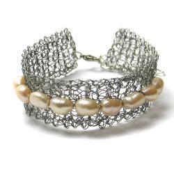 bransoletka,perły,elegancka,romantyczna, - Bransoletki - Biżuteria