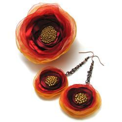 broszka,kolczyki,kwiatki,satyna,romantyczne - Broszki - Biżuteria