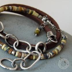 srebro,boho,rzemień,skóra, - Bransoletki - Biżuteria