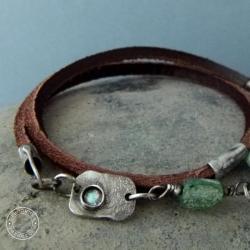 srebro,oksydowane,surowe,rzemień,skóra,natura - Bransoletki - Biżuteria