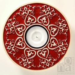 lampion,świecznik,serce,ceramika,czerwień - Ceramika i szkło - Wyposażenie wnętrz