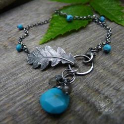 srebrny liść,turkus labradoryt, - Bransoletki - Biżuteria