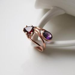 pierścionek z granatem,ametyst,czerwony, - Pierścionki - Biżuteria