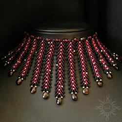 granaty,kolia,misterna,zamówienie - Naszyjniki - Biżuteria