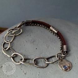 srebro,łańcuch,rzemień,surowa,labradoryt,oksyda - Bransoletki - Biżuteria