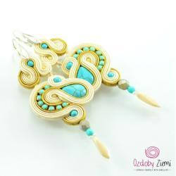 kremowe,turusowe,delikatne,orientalne - Kolczyki - Biżuteria