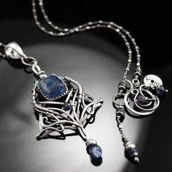 oryginalny,naszyjnik,szafir,wire-wrapping, - Naszyjniki - Biżuteria