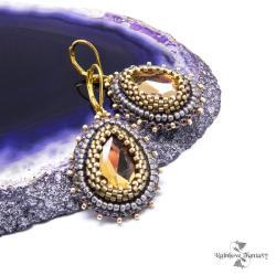 błyszczące,łezki,krople,wiszące,haftowane,złoto - Kolczyki - Biżuteria