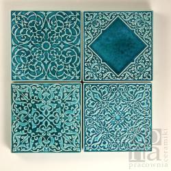 dekory,kafle,ceramika,ornament,turkus,niebieski - Ceramika i szkło - Wyposażenie wnętrz