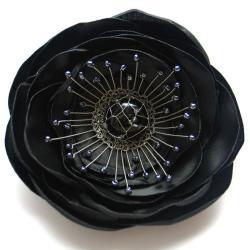broszka,satyna,misterna,kwiat,czarny, - Broszki - Biżuteria