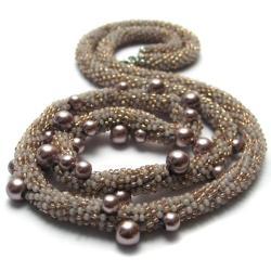 naszyjnik,perełki,pleciony,szydełko - Naszyjniki - Biżuteria