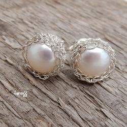 perły w koszyczkach,koronkowe,iwogg - Kolczyki - Biżuteria